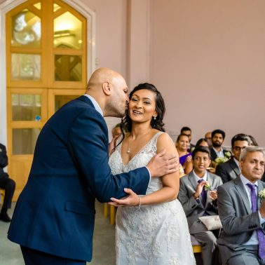 Bride and groom at Cheshunt Registry office